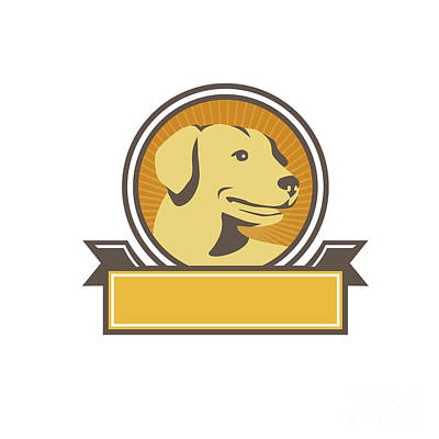 Retriever Digital Art - Yellow Labrador Golden Retriever Head Circle Retro by Aloysius Patrimonio