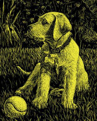 Painting - Yellow Labrador Puppy Dog by Irina Sztukowski