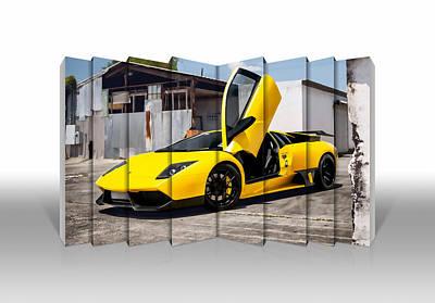 Mixed Media - Yellow Lamborghini  by Marvin Blaine