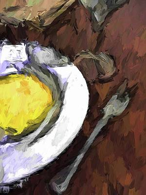 Yellow Lemon In A White Bowl With A Fork And A Wine Glass Art Print