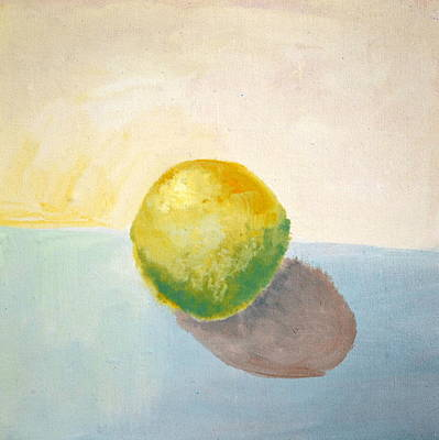Sphere Painting - Yellow Lemon Still Life by Michelle Calkins