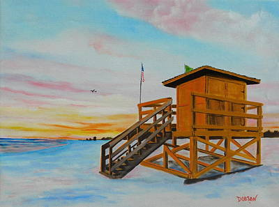 Painting - Yellow Lifeguard Stand At Sunset by Lloyd Dobson