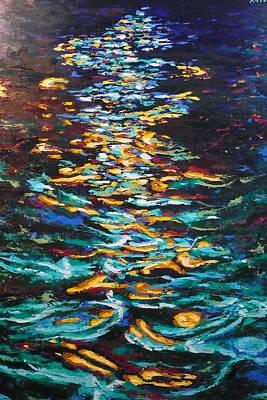 Yellow Light On Dark Water Art Print