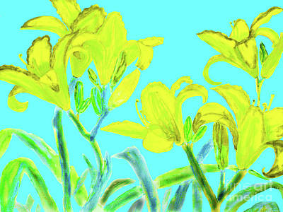 Painting - Yellow Lilies On Blue by Irina Afonskaya