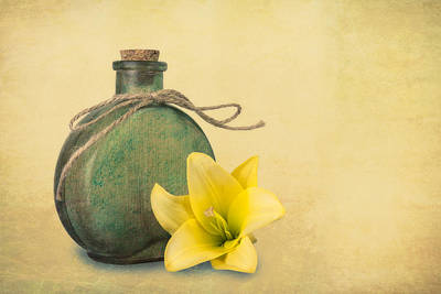 Yellow Lily And Green Bottle II Art Print by Tom Mc Nemar