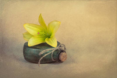 Yellow Lily And Green Bottle Art Print by Tom Mc Nemar