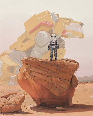 Science Fiction Painting - Yellow Lion by Scott Listfield