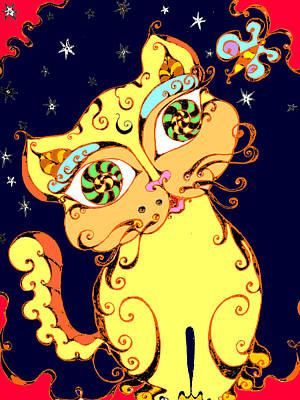 Yellow Loopy Cat Art Print