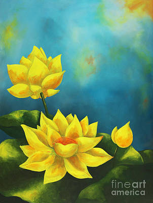 Painting - Yellow Lotuses by Nancy Fritz