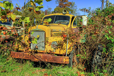 Photograph - Yellow Mack Truck by Jerry Gammon