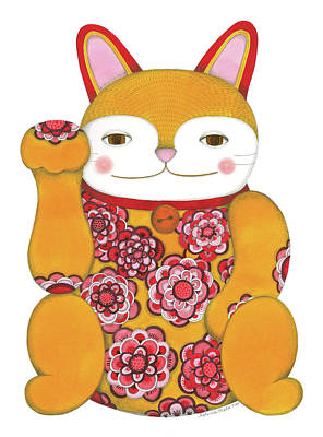 Flourish Drawing - Yellow Maneki-neko by Helena Melo