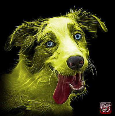 Painting - Yellow Merle Australian Shepherd - 2136 - Bb by James Ahn