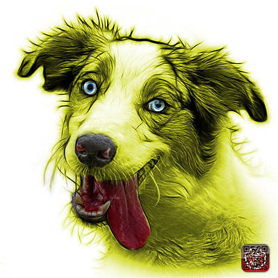 Painting - Yellow Merle Australian Shepherd - 2136 - Wb by James Ahn
