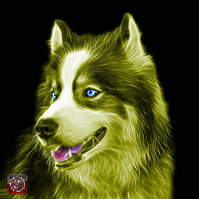Painting - Yellow Modern Siberian Husky Dog Art - 6024 - Bb by James Ahn