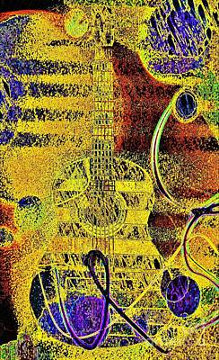 Yellow Mood  And Guitar Art Print by Jasna Gopic