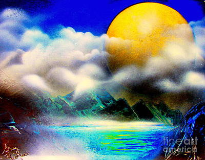 Painting - Yellow Moon 4682 E by Greg Moores
