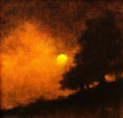 Mountain Scenery Wall Art - Painting - Yellow Moon by Jim Gola