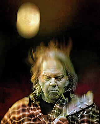 Neil Young Digital Art - Yellow Moon On The Rise by Mal Bray