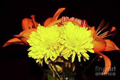 Yellow Mums And Orange Lilies  Art Print