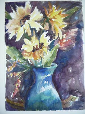 Yellow Mums Art Print by Dorothy Herron