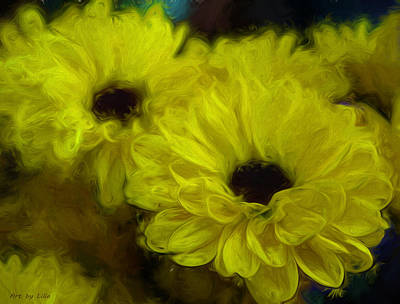 Mums Painting - Yellow Mums by Lilia D