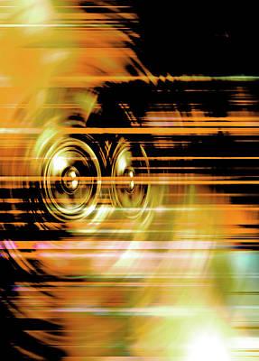 Digital Art - Yellow Music Speakers  by Steve Ball