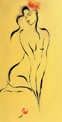 Yellow Nude With Pink Flower Art Print by Susan Adams