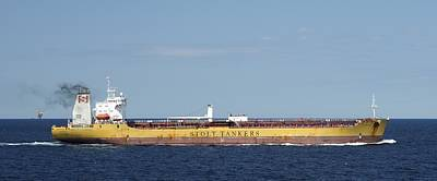 Photograph - Yellow Oil Tanker Stolt Peak by Bradford Martin