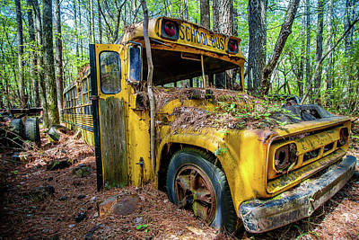 Photograph - Yellow Old School Bus by Menachem Ganon