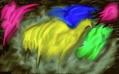 Digital Art - Yellow On Grey #g9 by Leif Sohlman