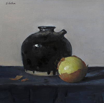 Painting - Yellow Onion And Rustic Sake Pitcher by Robert Holden