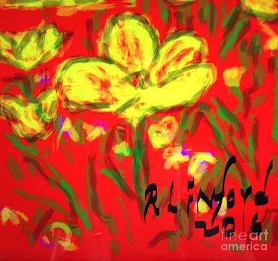 Digital Art - Yellow Open Tulips by Richard W Linford