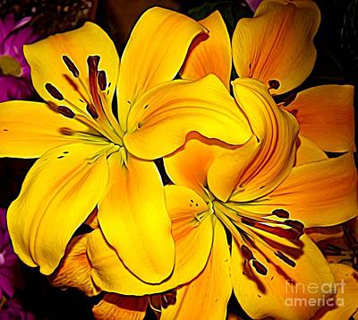 Photograph - Yellow Orange Asiatic Lilies Expressionist Effect by Rose Santuci-Sofranko