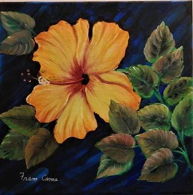 Painting - Yellow/orange Hibiscus by Fram Cama
