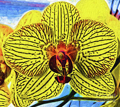 Digital Art - Yellow Orchid Bloom In Fauvism by Kirt Tisdale