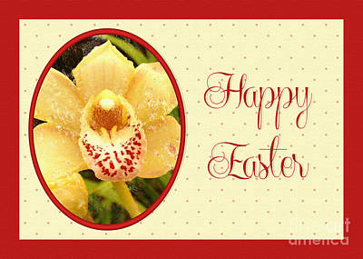 Digital Art - Yellow Orchid Easter by JH Designs