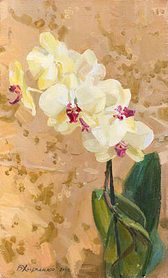 Yellow Orchid Art Print by Victoria Kharchenko