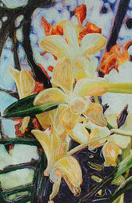 Mixed Media - Yellow Orchids by Banning Lary