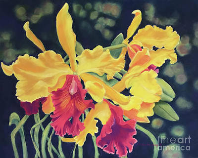 Painting - Yellow Orchids by Hilda Vandergriff