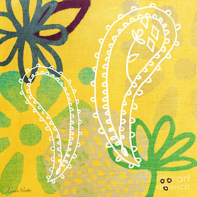 Leaf Green Painting - Yellow Paisley Garden by Linda Woods