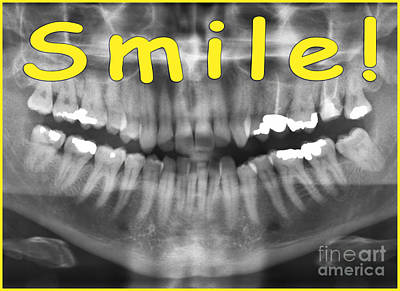 Xray Digital Art - Yellow Panoramic Dental X-ray With A Smile  by Ilan Rosen