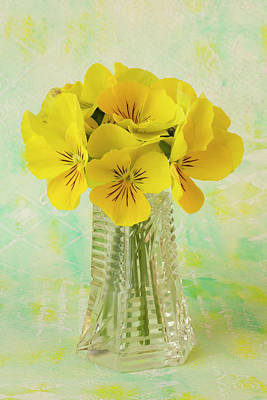 Victoria Magazine Style Photograph - Yellow Pansies In Vase  by Sandra Foster