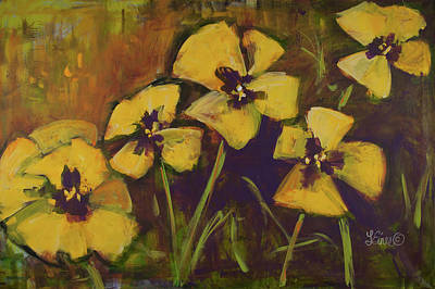 Painting - Yellow Pansies by Terri Einer