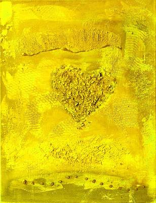 Painting - Yellow Paper Heart - Variation by Alexandra Schumann