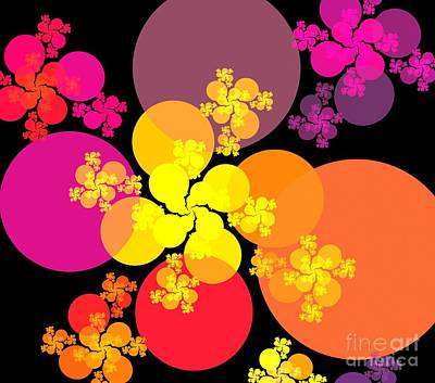 Digital Art - Yellow Pink Red Orbs by Kim Sy Ok