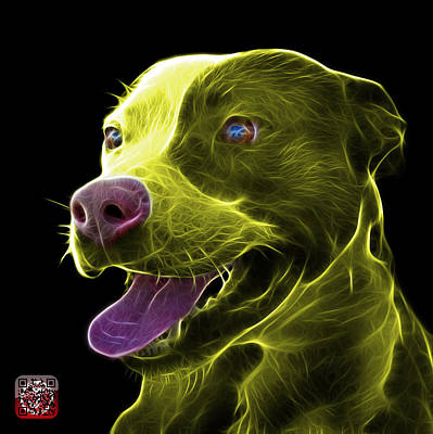 Mixed Media - Yellow Pit Bull Fractal Pop Art - 7773 - F - Bb by James Ahn