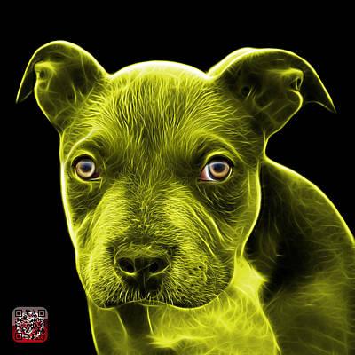 Painting - Yellow Pitbull Puppy Pop Art - 7085 Bb by James Ahn