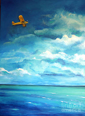 Piper Cub Painting - Yellow Plane by Valerie  Bruzzi