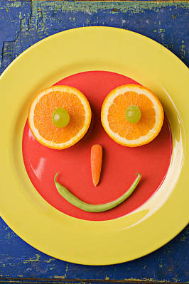 Yellow Plate With Food Face Art Print by Garry Gay