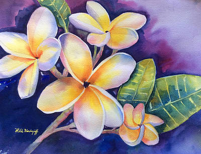 Painting - Yellow Plumeria Flowers by Hilda Vandergriff